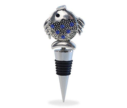 Cheers Reusable Rhinestone Wine Stopper, Premium Elegant Vacuum Seal Inserts Airtight Cork Plug Strong Grip Leak-Proof Beverage Champagne Bottle Toppers FDA Bar Tool & Accessory Gift (Fish) ()