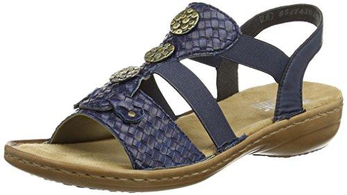 Rieker Women's 608B4 Women Open Toe Sandals Blue (Navy) 7pedz
