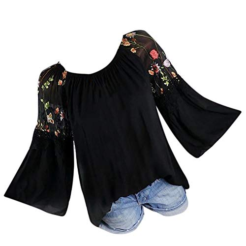 Orangeskycn Women O-Neck Blouse Floral Embroidery Lace Flare Sleeve T-Shirt Tops 2018 Fashion