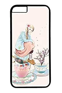 Anime Girl With Cup Cute Hard For Iphone 4/4S Case Cover Case PC Black Cases