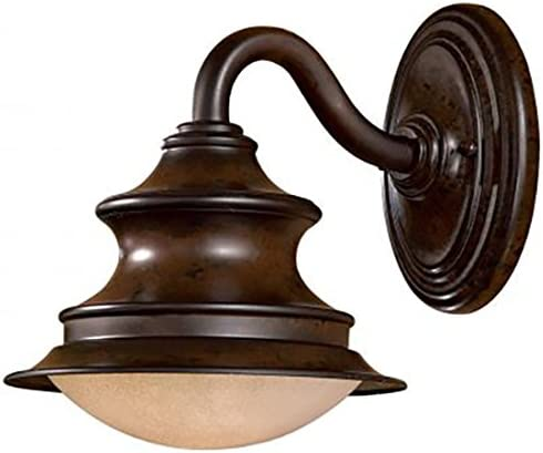 1 Light Wall Mount in Windsor Rust Finish w Double French Scavo with Twist and Lock Glass