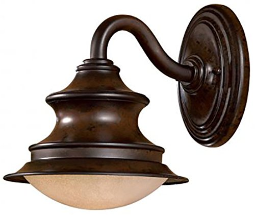 1 Light Wall Mount in Windsor Rust Finish w/ Double French Scavo with Twist and Lock Glass