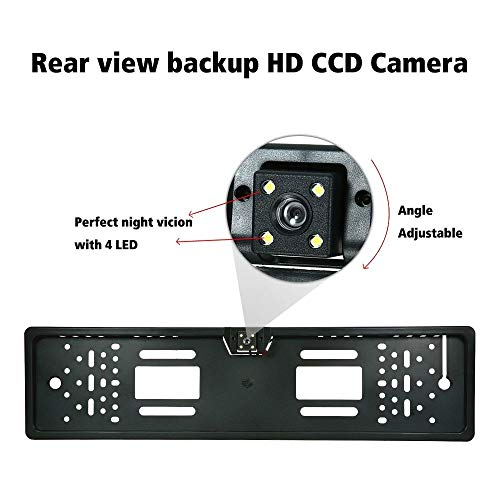 OscenLife 2018 170 European Car License Plate Frame Auto Reverse Rear View Backup Camera 4 LED Universal CCD IR Night -
