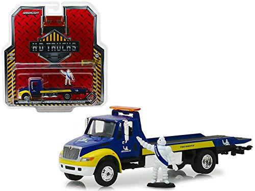 Greenlight 1: 64 HD Trucks Series 15-2013 International Durastar Flatbed - Michelin Service Center with Michelin Man Figure (Blue/Yellow) 33150-C