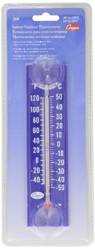 Cooper-Atkins 268-02-8 Glass Stick Tube Indoor/Outdoor Thermometer with Suction Cups, Blue Wall, -40/120°F Temperature Range