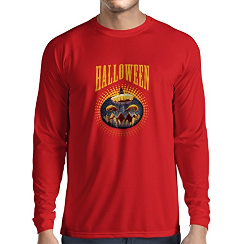 Long Sleeve t Shirt Men Halloween Pumpkin - Clever Party Costume Ideas 2017 (XX-Large Red Multi Color)