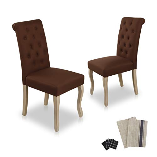 Dinner Chairs Upholstered Accent Fabric Dining Chair Solid Wood Legs Kitchen Living Room Set of 2 (Coffee 01)