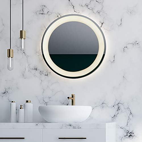 Hamilton Hills 28 Circle Mirror with Lights LED Lighting Single Line Backlit Round Circular Contemporary Mirror with Plug