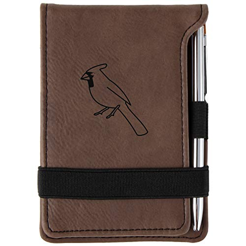 Cardinal Engraved Leather Personalized Mini Notepad With ()