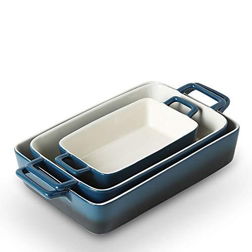 KOOV Bakeware Set, Ceramic Baking Dish, Rectangular Baking Pans Set, Casserole Dish for Cooking, Cake Dinner, Kitchen…