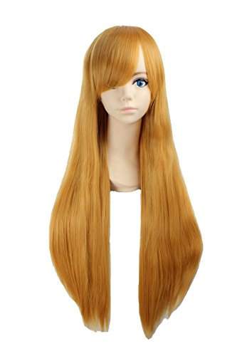 Angelaicos Unisex 80cm Various Color General Anime Cosplay Costume Party Halloween Natural Full Wig Long Straight 31 Inches (Yellow)
