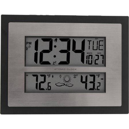 Atomic Digital Wall Clock with Forecast In Black by Generic
