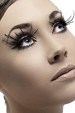 10fb97b3103 Ladies Long Black Feather False Eyelashes Burlesque Drag Queen Hen Party  Halloween Fancy Dress: Amazon.co.uk: Clothing