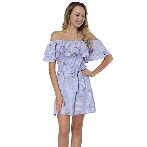 Bead Print Long Sleeve Dress - HUHHRRY Summer Dress Long Sleeve Maxi Dress Floral Print Short Dresses, Blue Dragonfl, Small