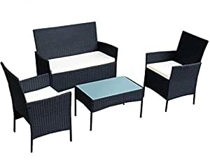SKB Family 4 pcs Outdoor Rattan Wicker Cushioned Seat with A Loveset