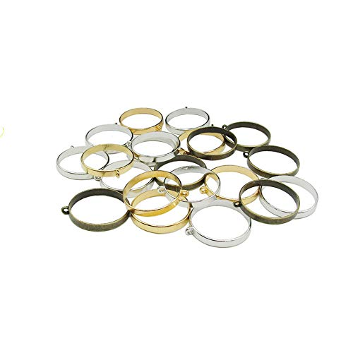 Pendant Back Loop - 30PCS 32mm Round Open Back Bezel Pendant with 1 Loop for Resin for Jewelry Making (Silver&Gold&Bronze)