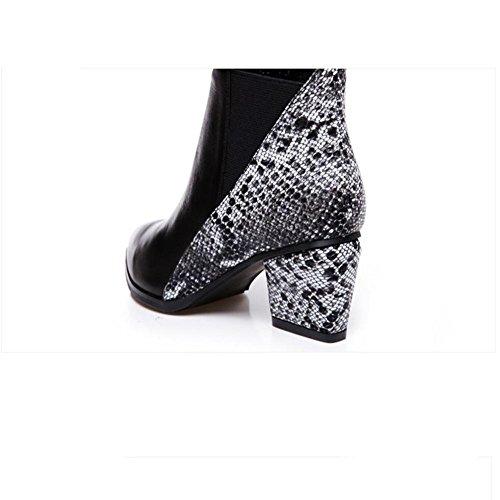 costura punta de gruesa botas botas femenino H manga negro cortas Martin goma de XIAOGANG 37 invierno la HCuero talón de X7wAfEqx
