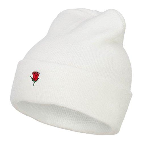 e4Hats.com Mini Rose Embroidered Long Beanie - White OSFM (E4hats Lightweight Beanie)