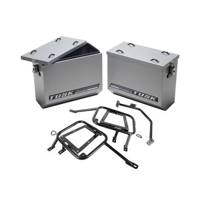 Happy Trail Rack (Tusk Aluminum Panniers with Pannier Racks Size Large Silver Fits 2008- 2015 KLR 650 Kawasaki Tusk part #1467340010)
