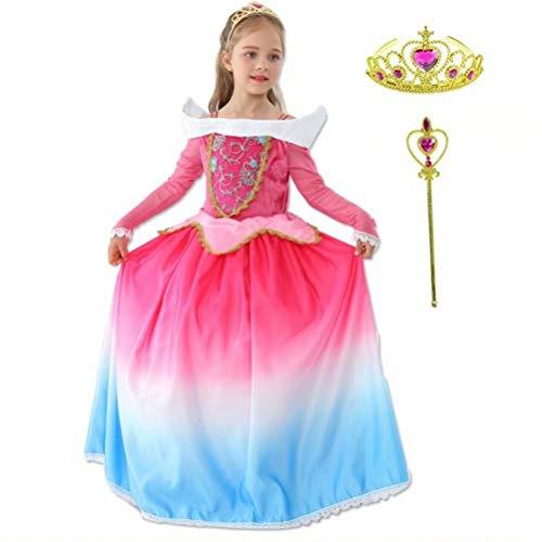 Tsyllyp 2019 Girls Deluxe Sleeping Beauty Princess Dress Up Fluffy Costume Aurora Long Dress