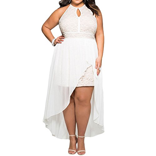 e999678c04 Red Dot Boutique 8818 - Plus Size Hi Low Lace Overlay Halter Cocktail  Wedding Maxi Dress Black (2X)  Amazon.ca  Clothing   Accessories