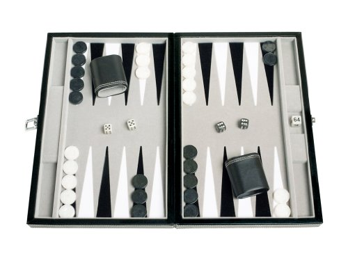 Middleton Games Leatherette Travel Backgammon Set - Inlaid Velvet Field, 15-inch, ()