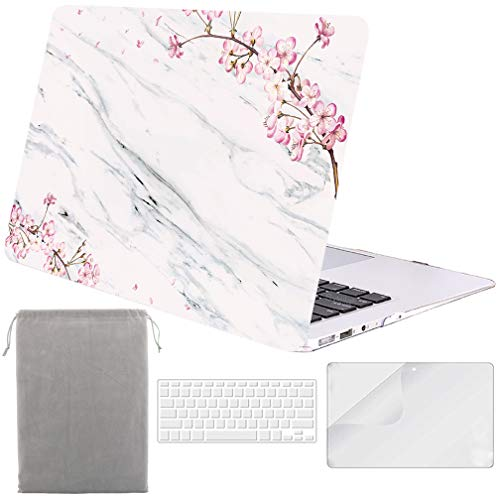 Sykiila for MacBook Air 11 Inch Case Hard Cover 4 in 1 HD Screen Protector Film & TPU Keyboard Cover & Sleeve Protective Folio Case for Air 11 Model A1370 / A1465 - Floral White Marble (Galaxy Macbook Air 11 Case)