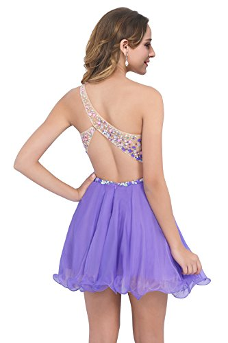 Abendkleider One Shoulder Chiffon Ausschnitt Lilac Festkleider Brautkleider MisShow Cocktailkleider Elegant Damen V Rückenfrei qwXSxF6z