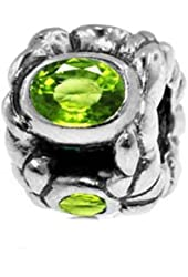 Sterling Silver Elegant Bead Charm Peridot Gemstone (August Birthstone)