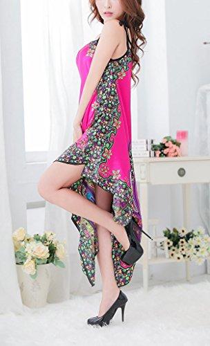 Paplan Mujer Moda étnica del estilo fresco de la ropa interior de la honda impresión vestido de fiesta Racy Rosado