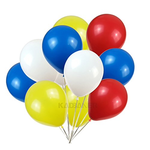 KADBANER 10 inch Latex Balloon White Yellow red Blue 100 -
