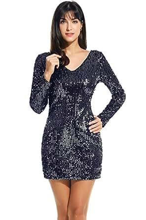 Meaneor Women's Sequin V-Neck Long Sleeve Bodycon Sheath Dress, Small, Dark Gray