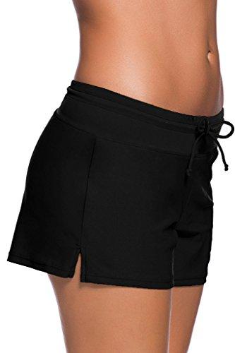 FIYOTE Women Sports Summer Bottom Slit Swim Beach Board Shorts (L, Black)