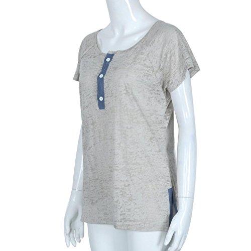 Ularma Mujeres sueltas botón casual blusa camiseta Tops camiseta Gris