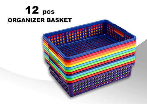 Storage Baskets Large Storage Baskets with Handles 12Pcs 13.38x9.75x3 Inches Plastic Storage Basket Colored Baskets for Classroom Toy Organizer Office File Organizer Teacher Storage Baskets