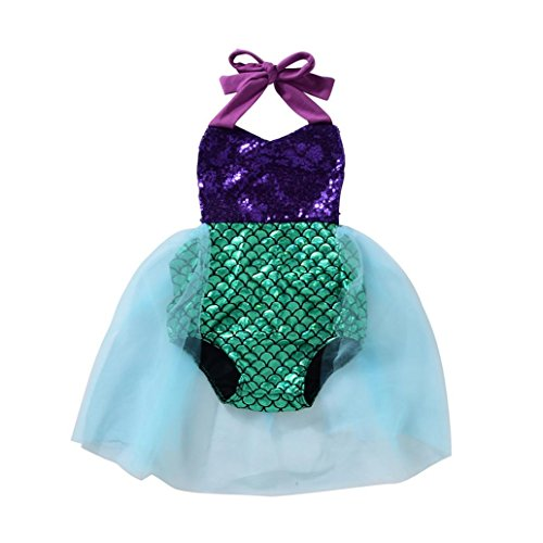 starlit Fashion Cute Toddler Baby Girls Sequined Mermaid Bodysuit Tutu Skirt Romper Summer (Mermaid Tutus)