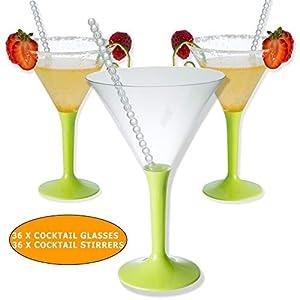 BlueRiver Cocktail Dresses 36 x bicchieri da cocktail Martini in plastica con regalo | Senza BPA, robusto ed elegante 4 spesavip