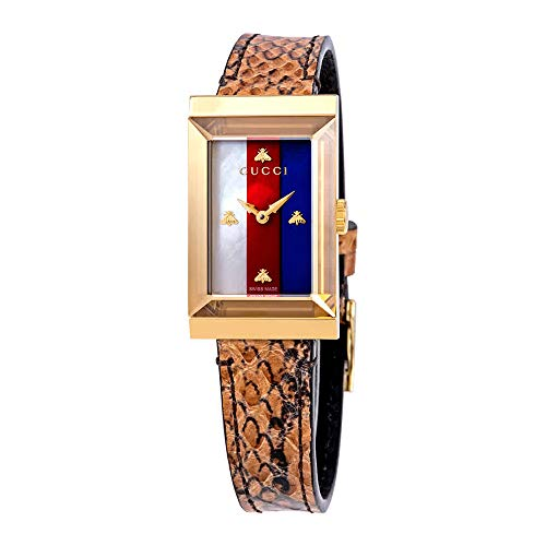 Gucci G-Frame Mother of Pearl Dial Ladies Leather Watch YA147402