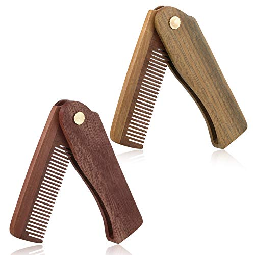 2 Pieces Folding Comb for Men Folding Beard Comb Sandalwood Fine Tooth Pocket Hair Comb with Velvet Bag for Hair Beard Mustache Styling
