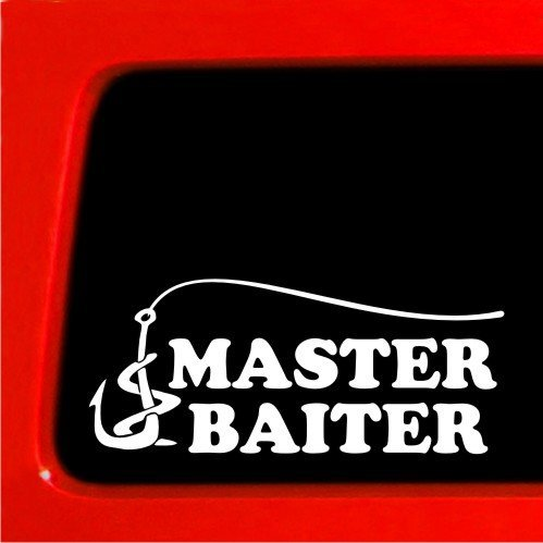 - Fishing Master Baiter sticker - Funny joke prank decal fish hunting bumper sticker vinyl | 7 X 3 In | KCD186
