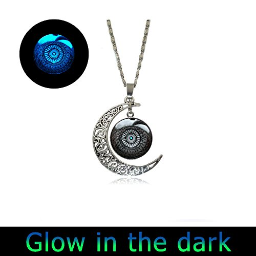 Glowing Art Jewelry Full Moon Necklace New Age Necklace Sacred Geometry Talisman Mandala Pendant (New Jewelry Age)
