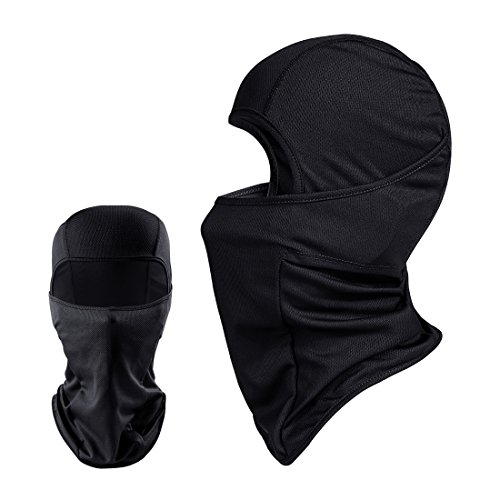 Balaclava - Windproof Mask Adjustable Face Head Warmer for Skiing, Cycling, Motorcycle Outdoor Sports (Black, One Piece)