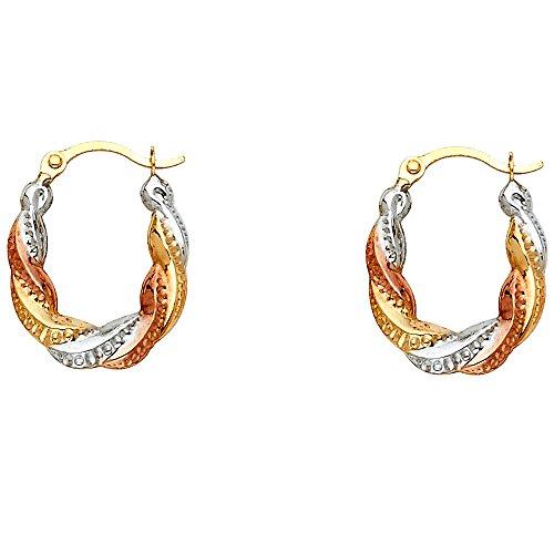 Hoop Twist Fancy - 14k Tri Color Gold Oval Twist Fancy Hoop Earrings (17 x 14mm)