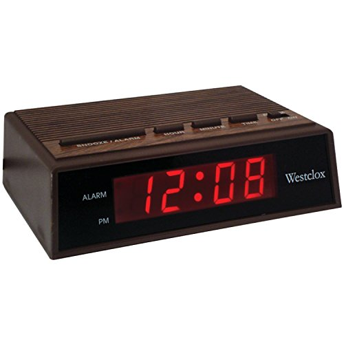 Westclox 22690 Retro Wood Grain LED Alarm Clock, 0.6-Inch