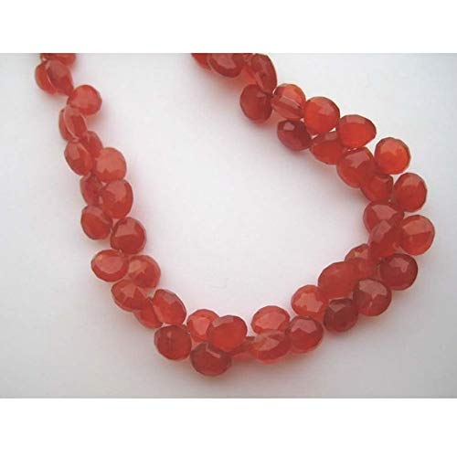 GemAbyss Beads Gemstone 1 Strand Natural Carnelian Briolettes - 8x8mm Orange Carnelian Heart Shaped Faceted Briolettes - Half Strand - 4 Inches ()