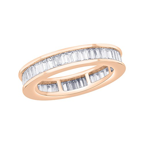 Baguette Diamond Eternity Wedding Band - KATARINA Baguette Cut Diamond Eternity Wedding Band in 14K Rose Gold (1 1/2 cttw) (I-Color, SI3/I1-Clarity) (Size-11)