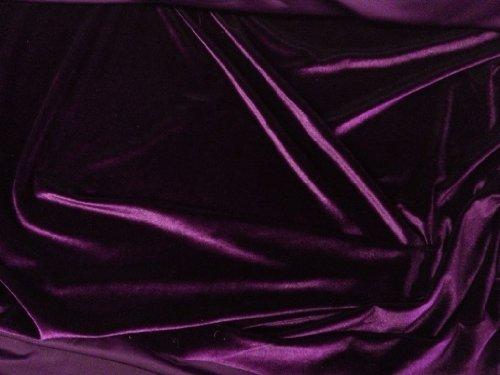 Stretch Velvet Dark Purple 60 Inch Sold By The Yard