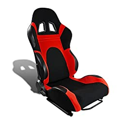 Universal Full-Reclinable Black & Red Sport Racing Seat With Black Trim (Right)
