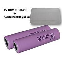 Samsung SDI ICR18650-26F X2 Li-Ion Akku (3,7V, 2600mAh, 2-er Pack) inkl. Akkubox