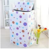 Autumn Water Floral Washing Machine Cloth Dust Cover Waterproof Sunscreen Washing Machine Protective Cover Case Zipper Automatic Roller